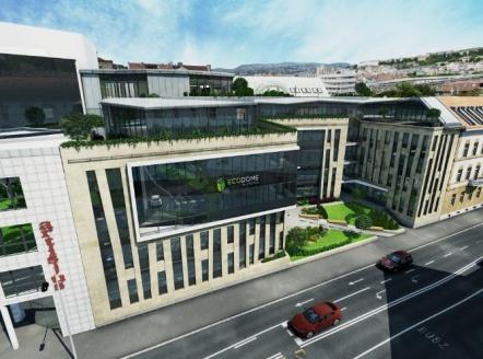 A Mészáros utcába tervezett Ecodom irodaház látványterve