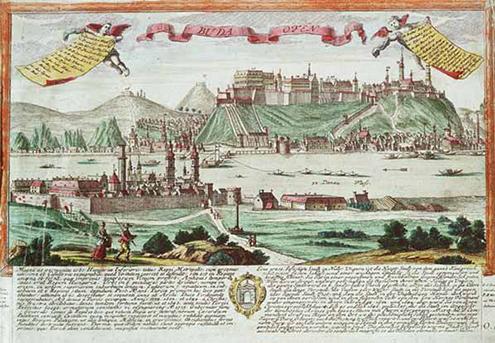 Friedrich Bernhard Werner látképe Budáról, 1732, forrás: OSZK